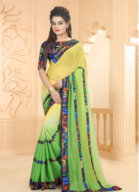 Abstract Print Work Mint Green and Yellow Classic Saree