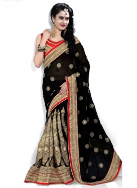 Admirable Beads And Resham Enhanced Designer Saree