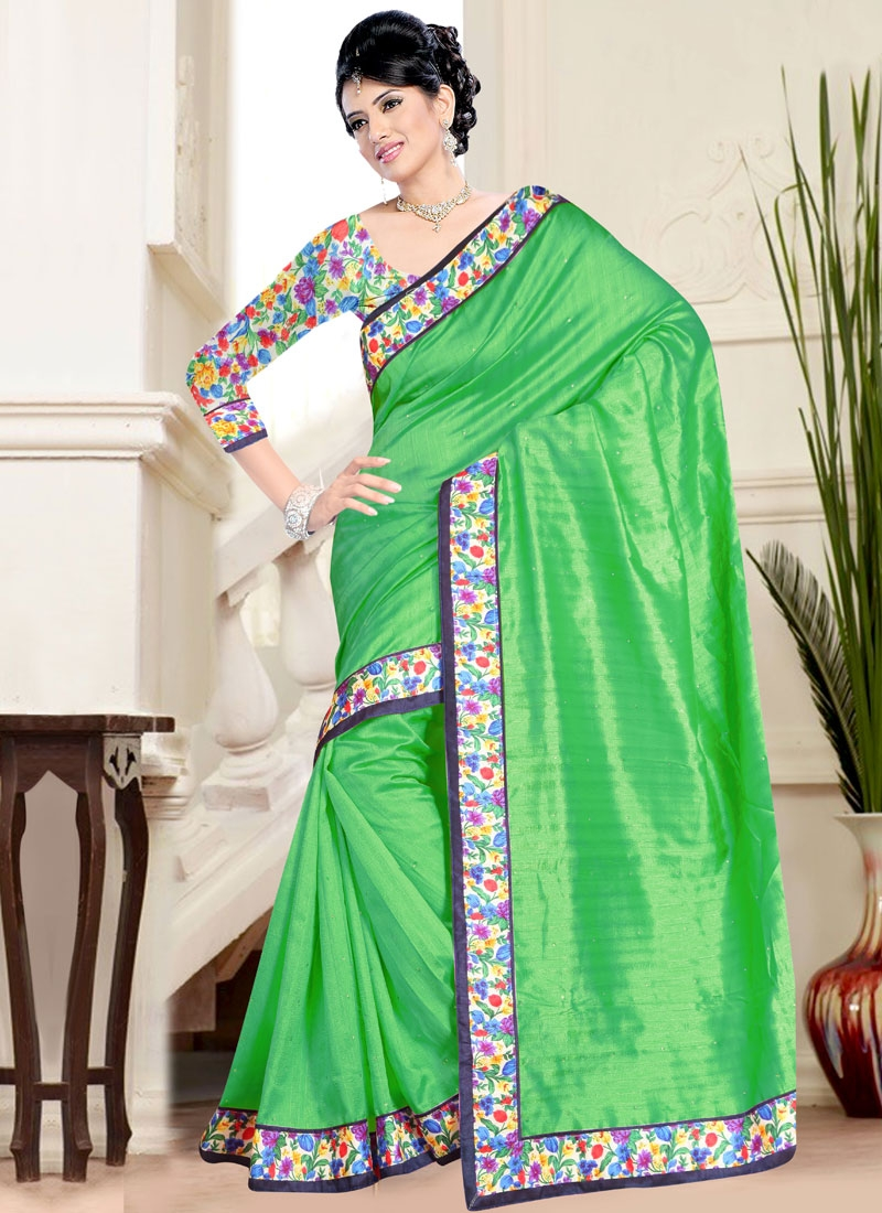 Admirable Bhagalpuri Silk Mint Green Color Casual Saree