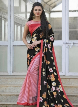 Admirable  Black and Pink Net Half N Half Trendy Saree