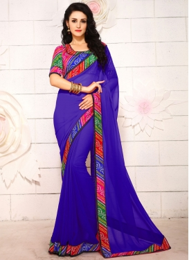 Admirable Blue Color Faux Georgette Casual Saree