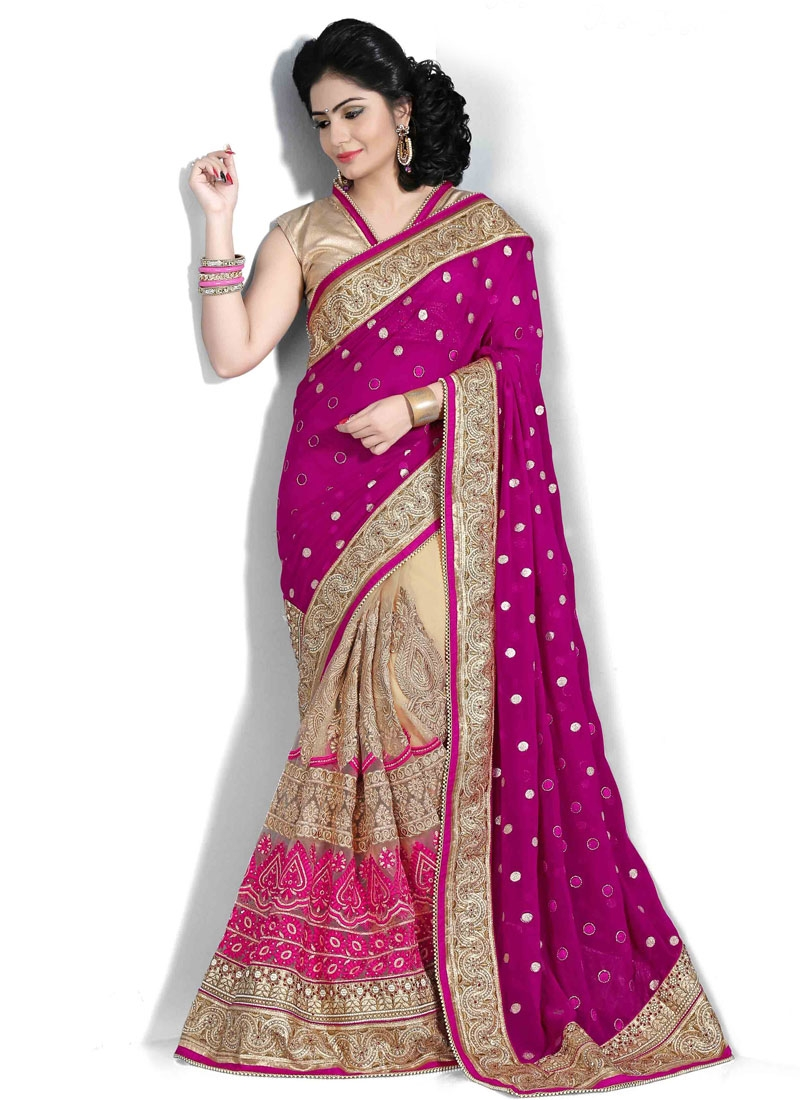 Admirable Booti Work Half N Half Wedding Saree