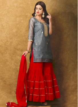 Admirable Chanderi Silk Resham Work Designer Salwar Kameez