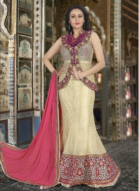 Admirable Embroidered Work Cream and Purple Net Long Choli Lehenga