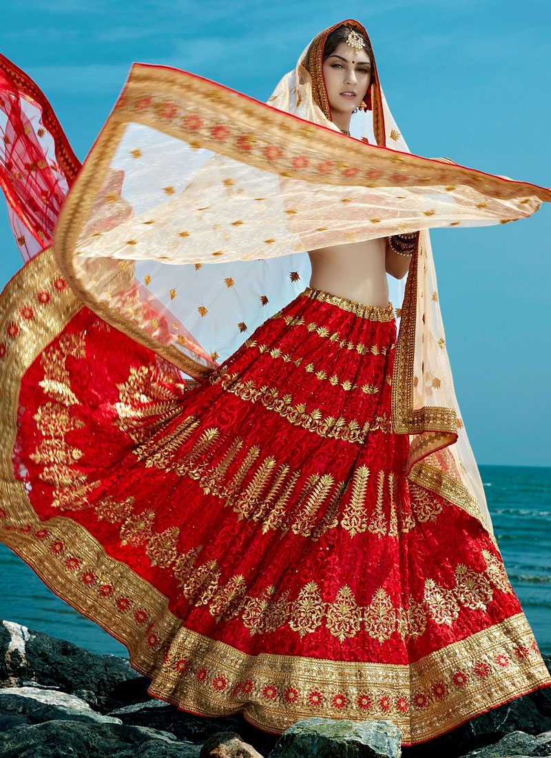 Admirable Embroidery And Booti Work Bridal Lehenga Choli