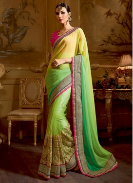 Admirable Embroidery Work Mint Green Color Wedding Saree