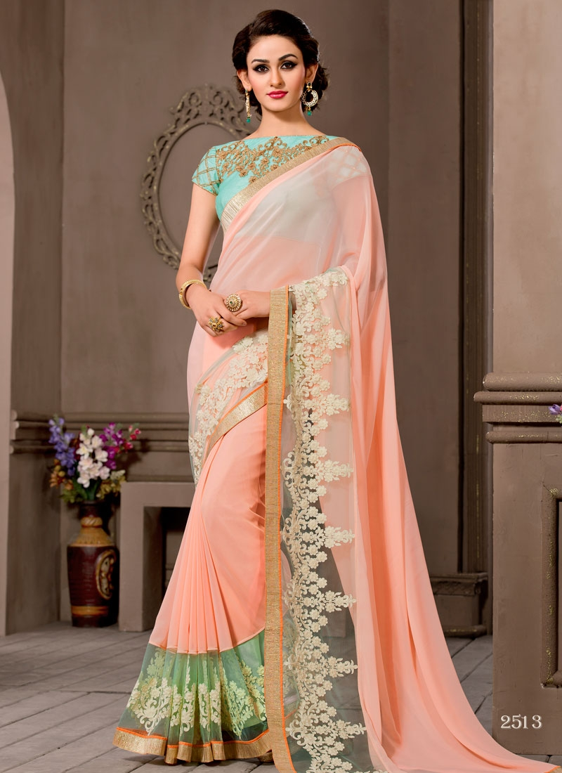 Admirable Embroidery Work Pure Georgette Party Wear Saree
