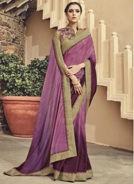 Admirable  Fuchsia and Purple Designer Contemporary Style Saree For Festival