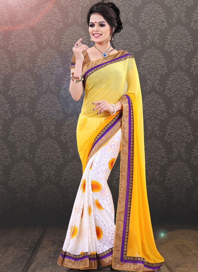 Admirable Gold Color Half N Half Party Wear Saree