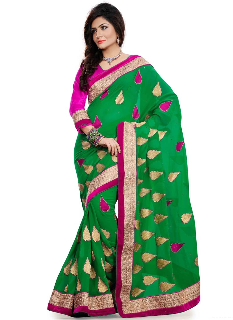 Admirable Green Color Lace Work Party Wear Saree