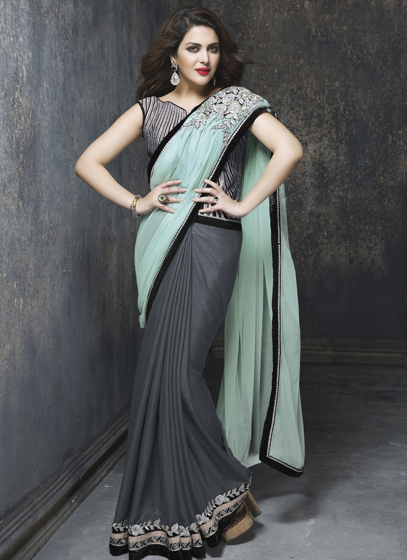Admirable Grey And Aqua Blue Color Half N Half Designer Saree