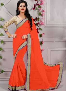 Admirable Lace Work Faux Georgette Casual Saree