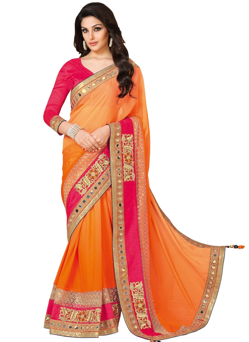 Admirable Mirror And Patch Border Work Designer Saree