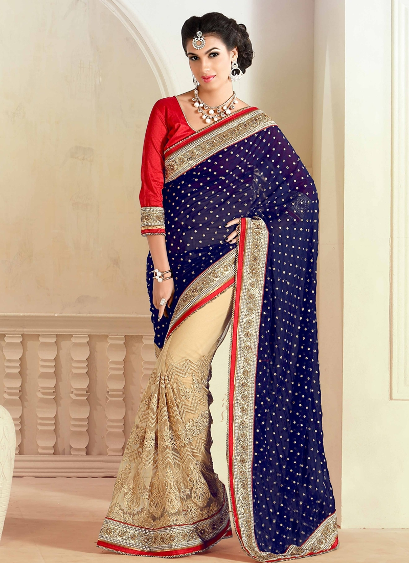 Admirable Net Half N Half Designer Saree
