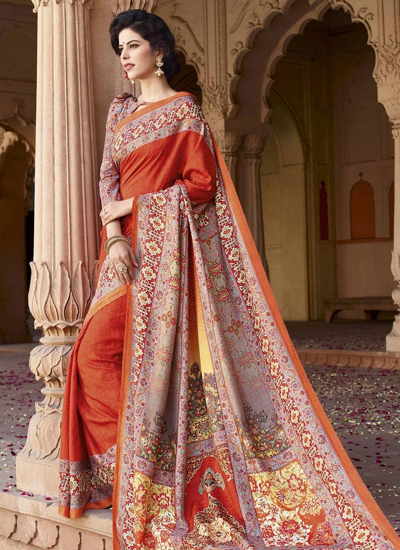 Admirable Orange Color Digital Print Work Casual Saree