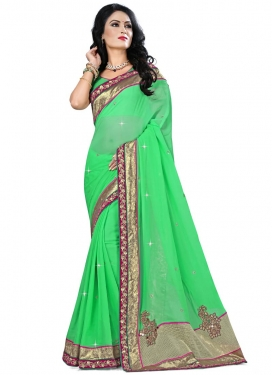 Admirable Patch Border And Mirror Work Party Wear Saree