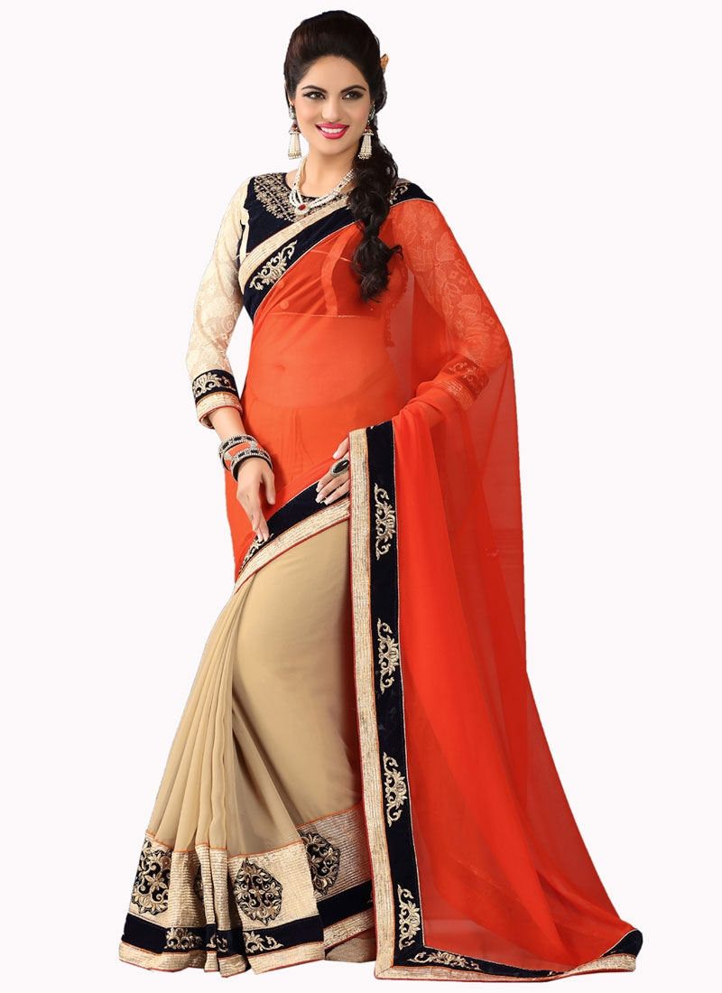 Admirable Patch Border Work Beige Color Half N Half Party Wear Saree