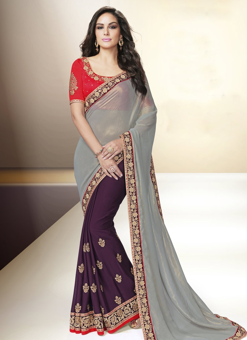 Admirable Purple Color Faux Chiffon Half N Half Party Wear Saree