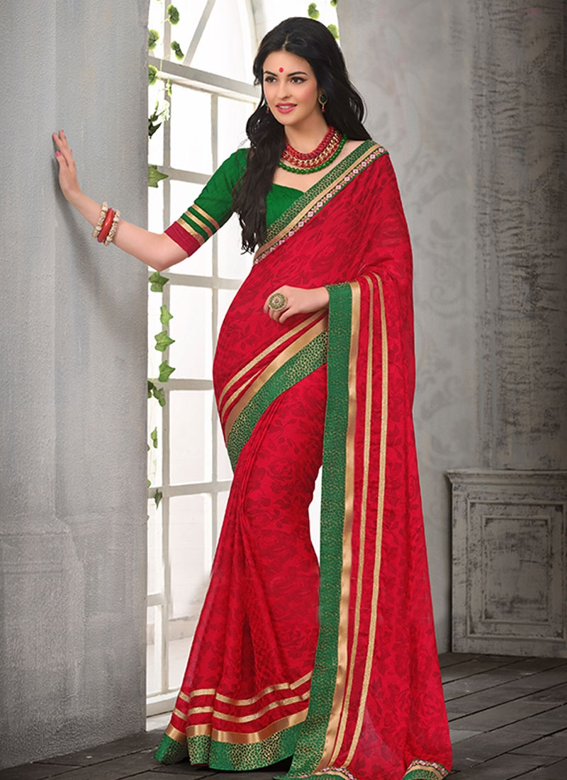 Admirable Red Color Faux Chiffon Casual Saree