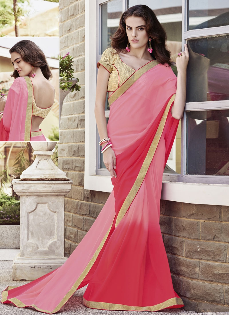 Admirable Resham Work Pink Color Party Wear Saree