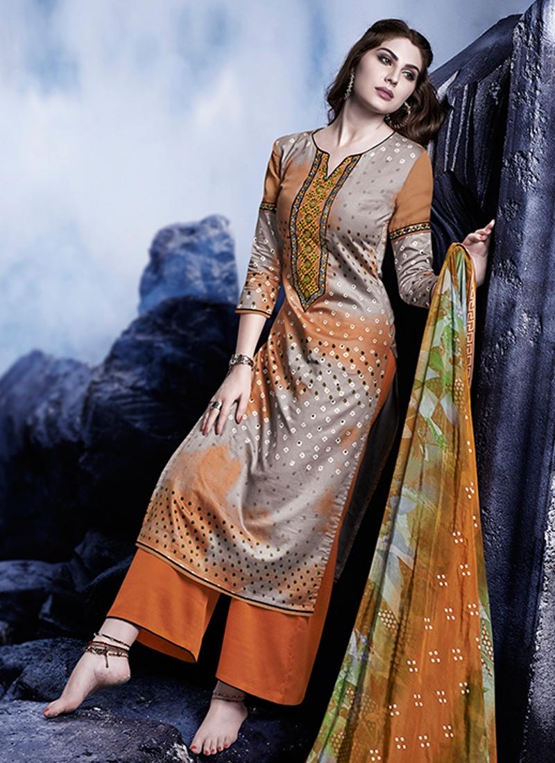 Admirable Resham Work Satin Palazzo Style Pakistani Suit