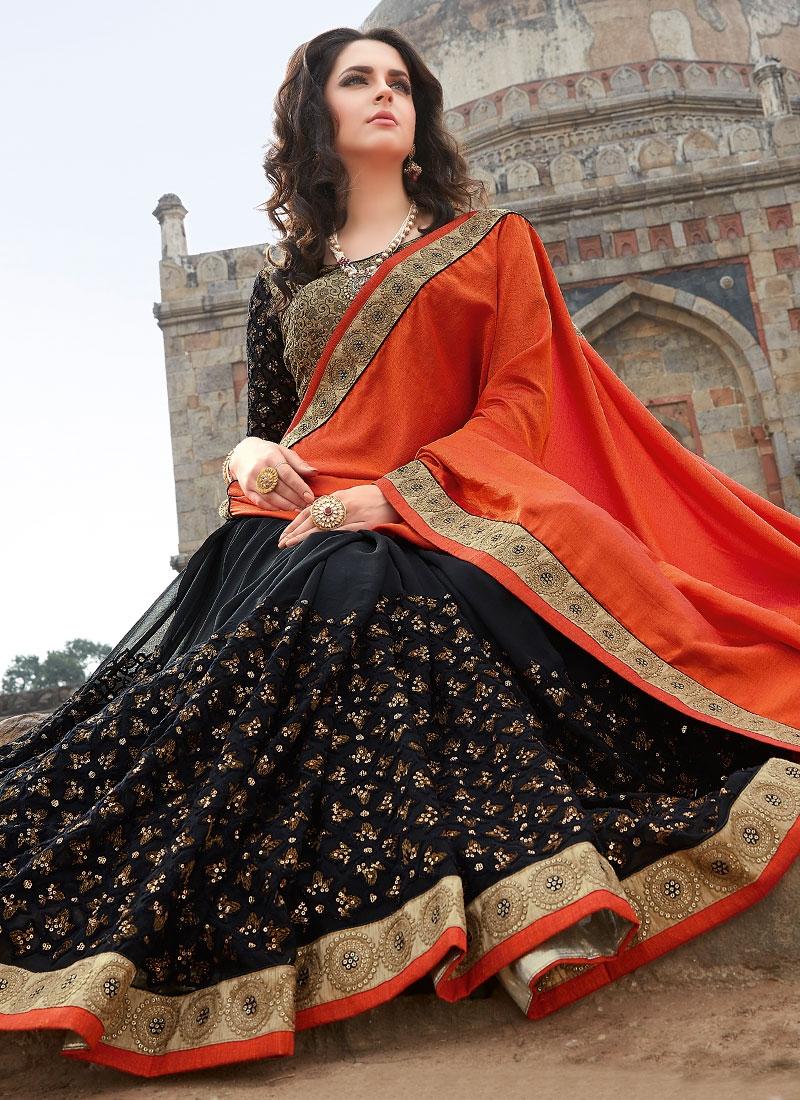 Admirable Sequins Work Half N Half Designer Saree