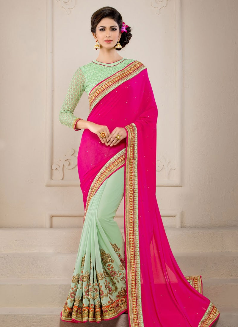 Admirable Sequins Work Mint Green Color Half N Half Wedding Saree