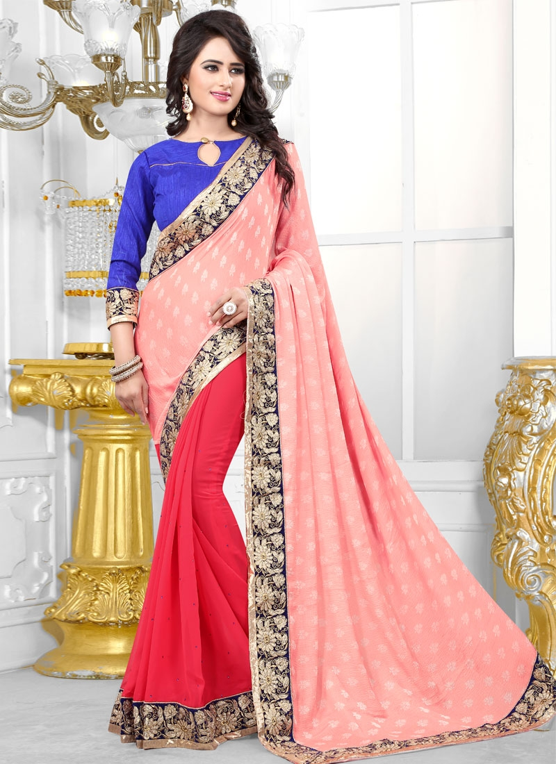Admirable Stone And Lace Work Half N Half Party Wear Saree