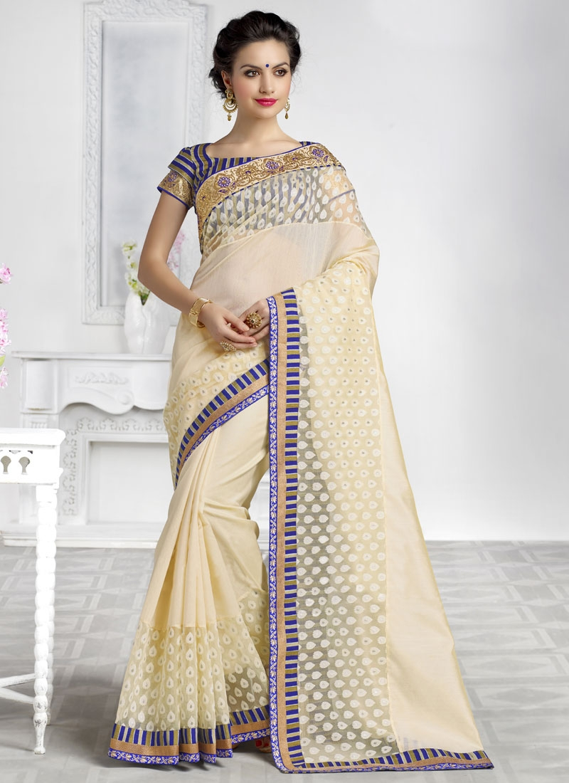 Admirable Stone Work Cream Color Party Wear Saree