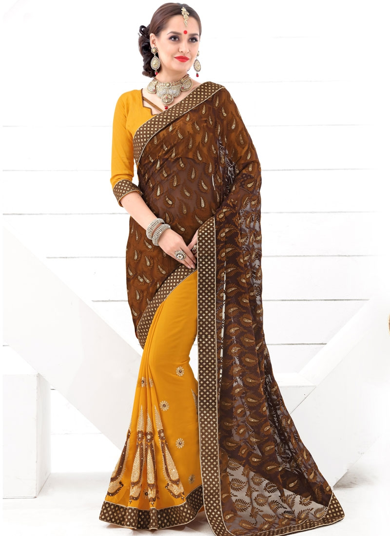 Admirable Stone Work Half N Half Party Wear Saree