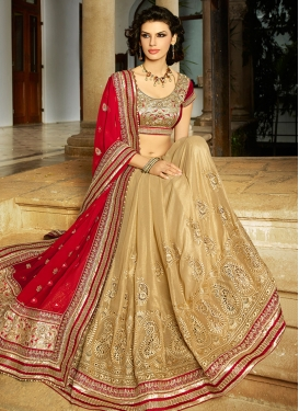 Adorable Beads And Lace Work Half N Half Wedding Saree