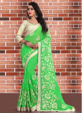 Adorable Beads Work Contemporary Saree For Festival