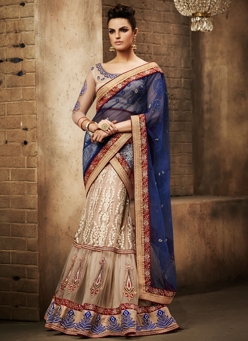 Adorable Booti Work Designer Lehenga Saree