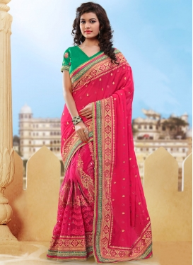 Adorable Booti Work Pure Georgette Bridal Saree