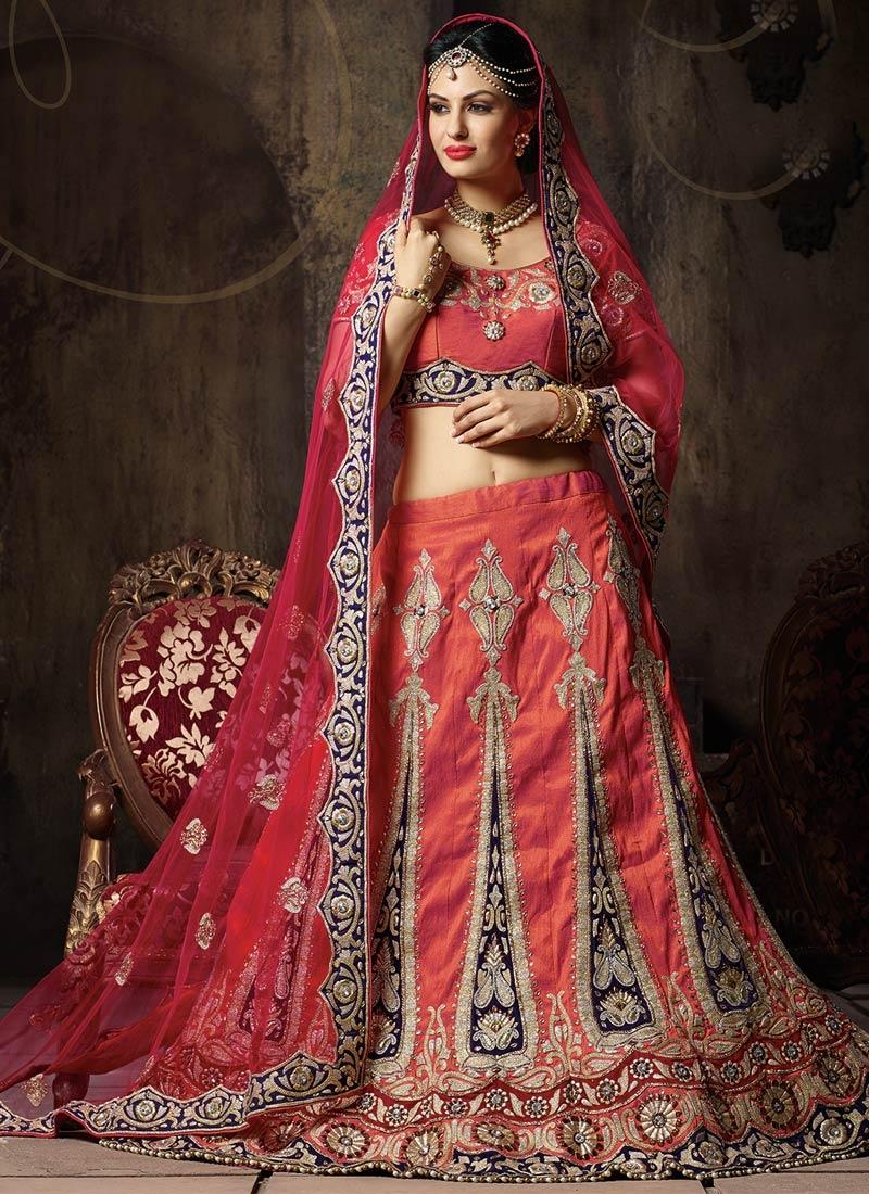Adorable Booti Work Silk Wedding Lehenga Choli