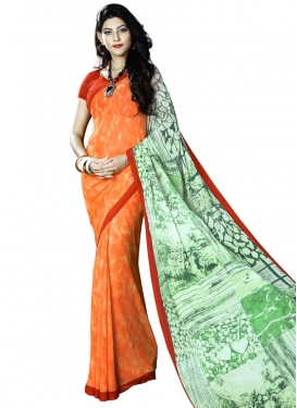 Adorable Coral and Mint Green Contemporary Style Saree For Casual