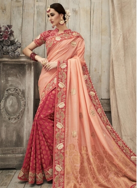Adorable Fuchsia and Peach  Half N Half Saree