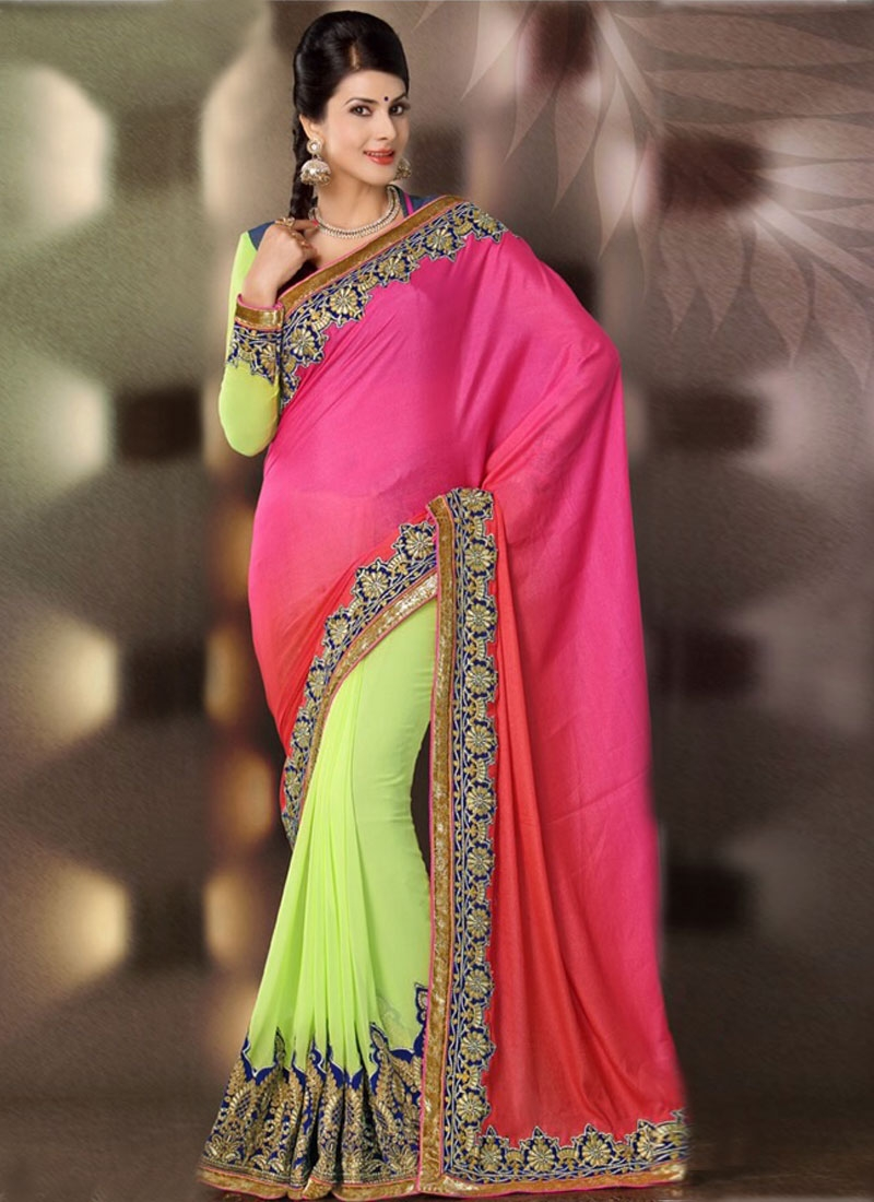 Adorable Lace And Patch Work Half N Half Party Wear Saree