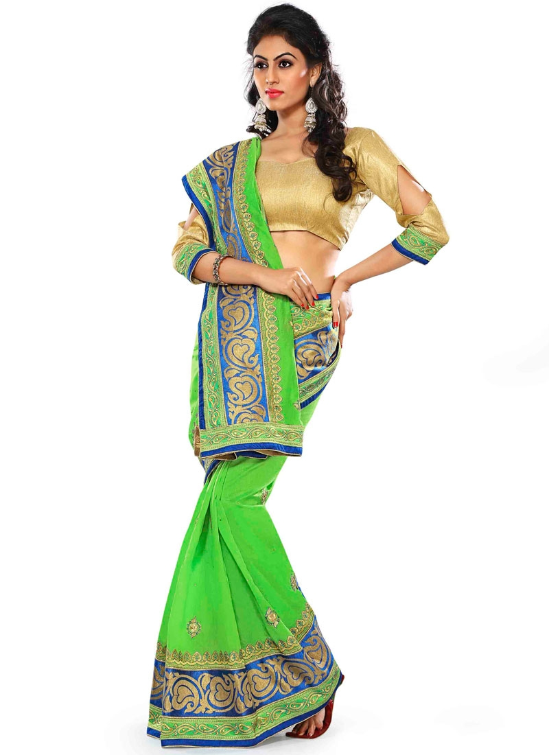 Adorable Lace Work Chanderi Silk Party Wear Saree
