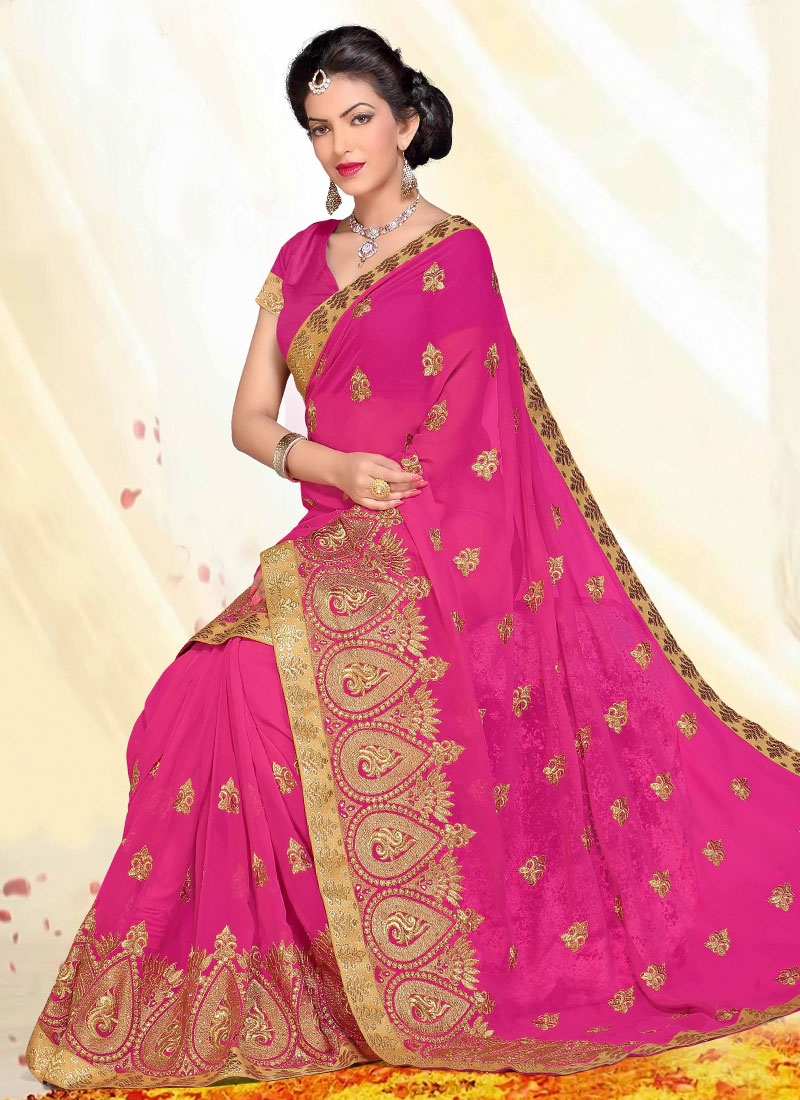Adorable Rose Pink Color Faux Georgette Designer Saree
