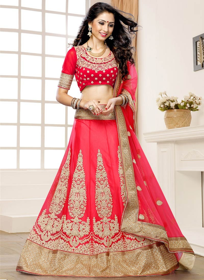 Adorable Stone Work Rose Pink Color Wedding Lehenga Choli