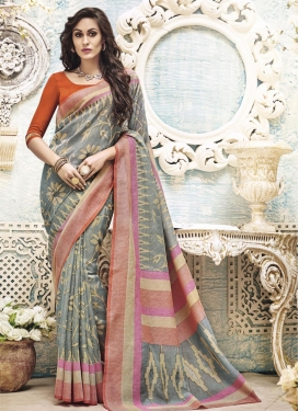Adorning Art Silk Resham Work Contemporary Style Saree For Ceremonial
