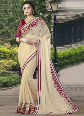 Adorning  Beads Work Georgette Trendy Classic Saree
