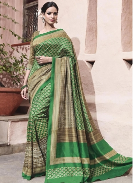 Adorning Beige and Green Embroidered Work Trendy Saree For Ceremonial