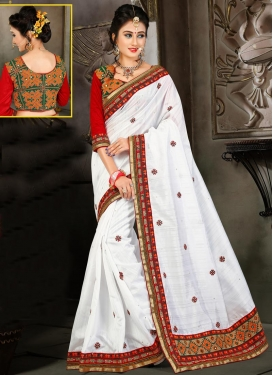 Adorning Bhagalpuri Silk Red and White Traditional Saree For Festival