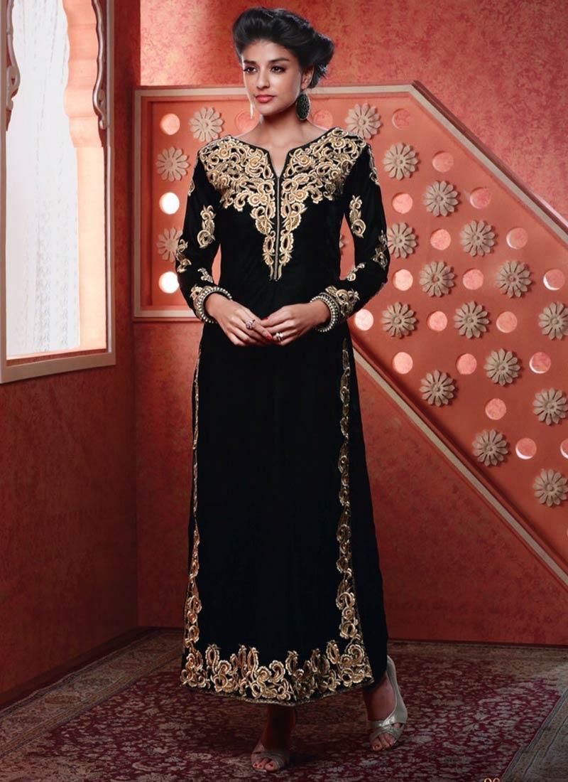 Adorning Black Color Velvet Designer Suit