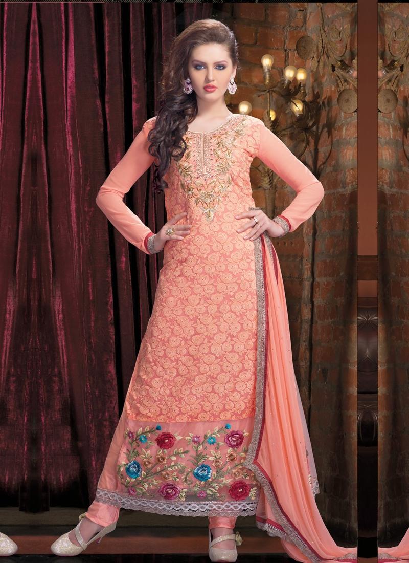 Adorning Floral Work Pakistani Salwar Kameez