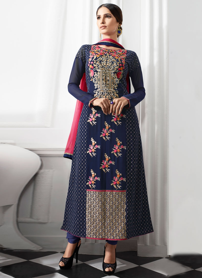 Adorning Floral Work Pakistani Salwar Suit