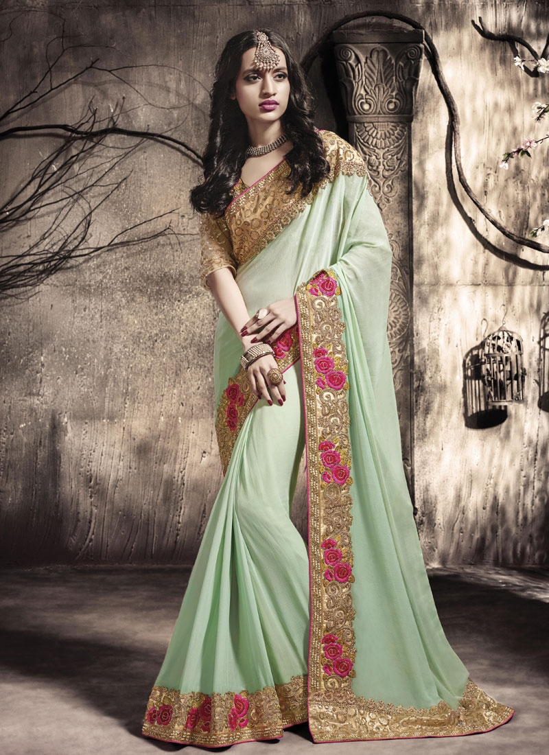 Adorning Mint Green Color Faux Chiffon Party Wear Saree