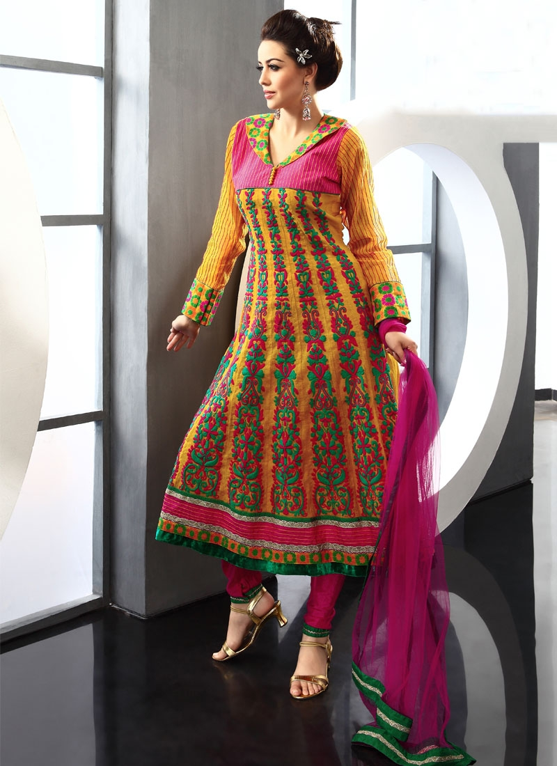 Adorning Orange And Hot Pink Anarkali Salwar Kameez